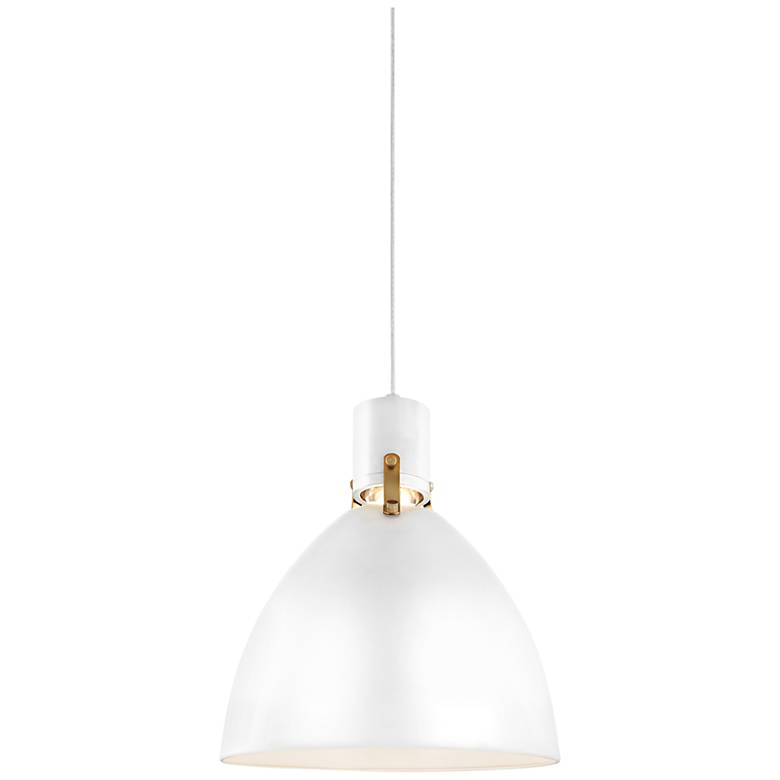 "Feiss Brynne 14""W Flat White LED Scandinavian Pendant Light"