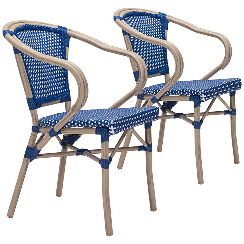 Zuo Paris Blue and White Outdoor Dining Armchair Set of 2