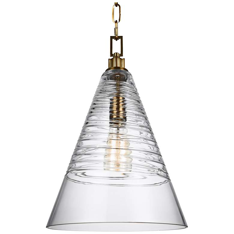 """Feiss Elmore 11 3/4"""" Wide Burnished Brass Cone Mini Pendant"""