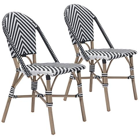 Zuo Paris Black and White Outdoor Dining Chair Set of 2