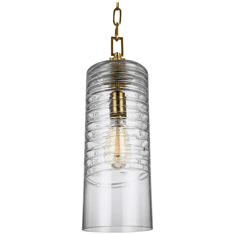 """Feiss Elmore 6"""" Wide Burnished Brass Cylinder Mini Pendant"""