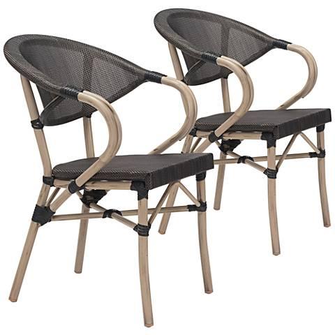 Zuo Marseilles Dark Brown Mesh Outdoor Dining Chair Set of 2