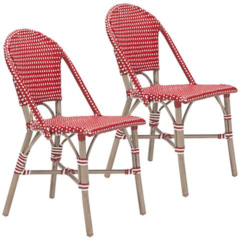 Zuo Paris Red and White Outdoor Dining Chair Set of 2