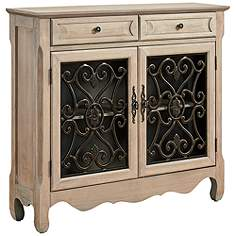 Maravilla 2 Door Drawer Natural Console Cabinet