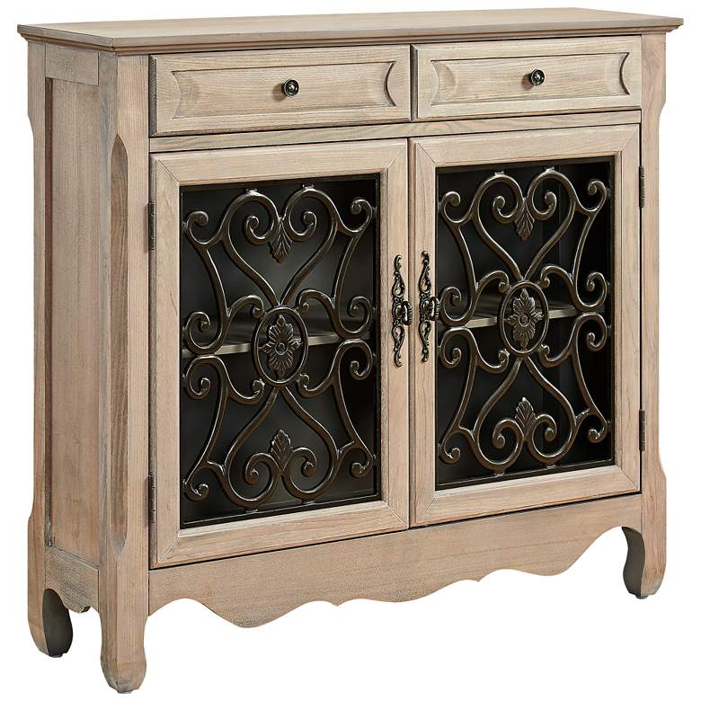 """Maravilla 41"""" Wide Grillwork and Wood Console Cabinet"""