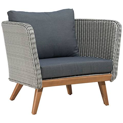 Zuo Grace Bay Gray and Natural Wood Outdoor Armchair