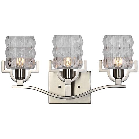 "Uttermost Copeman 19"" Wide Brushed Nickel 3-Light Bath Light"