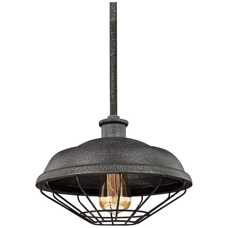 "Feiss Lennex 12""W Slated Gray Indoor-Outdoor Mini Pendant"