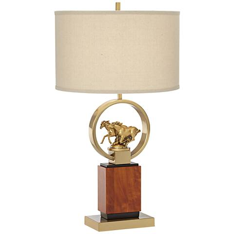 Running Horses Walnut Wood Sculpted Brass Table Lamp