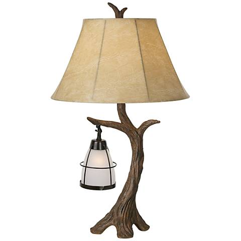 Mountain Wind Aged Oak Tree Table Lamp with Nightlight
