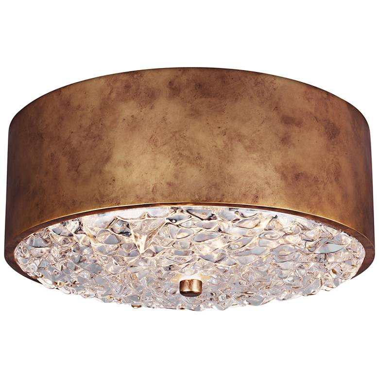"Feiss Dori 13"" Wide 2-Light Burnished Brass Ceiling Light"