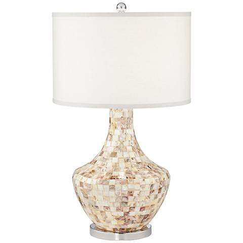 Jeannie Mother of Pearl Tile Table Lamp with Nightlight
