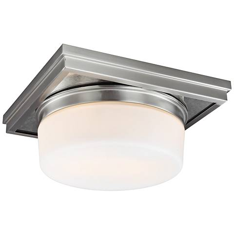 "Feiss Mandie 12"" Wide 2-Light Satin Nickel Ceiling Light"