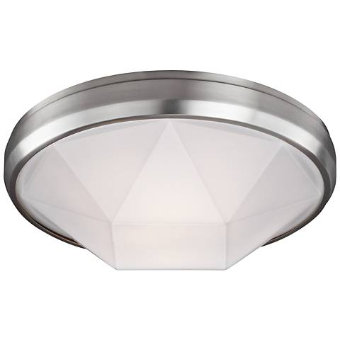 "Feiss Gillis 15"" Wide 2-Light Satin Nickel Ceiling Light"