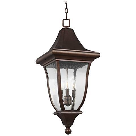"Oakmont 28 1/4""H Patina Bronze 3-Light Outdoor Hanging Light"