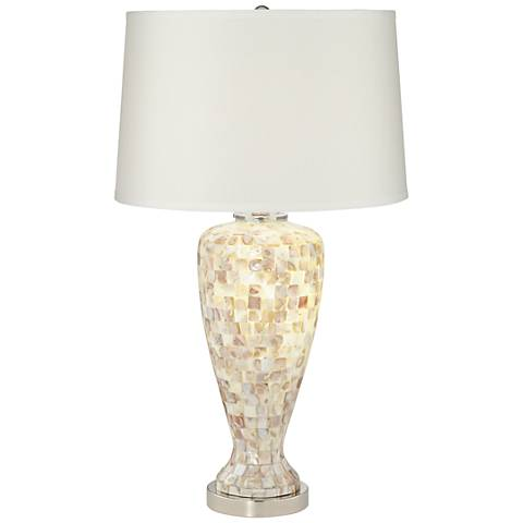 Ernestine Mother of Pearl Tile Table Lamp with Nightlight