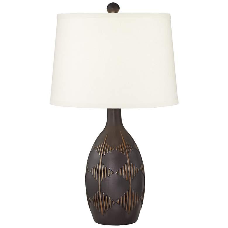 Cruz Dark Charcoal Tribal Diamond Ceramic Table Lamp