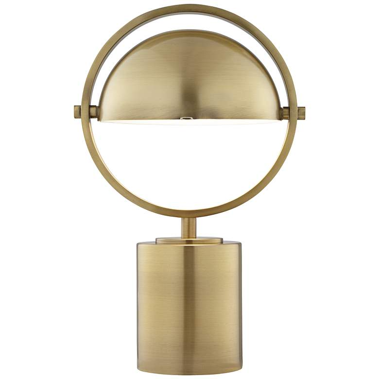 Drome Brushed Brass Space-Age Industrial Accent Table Lamp