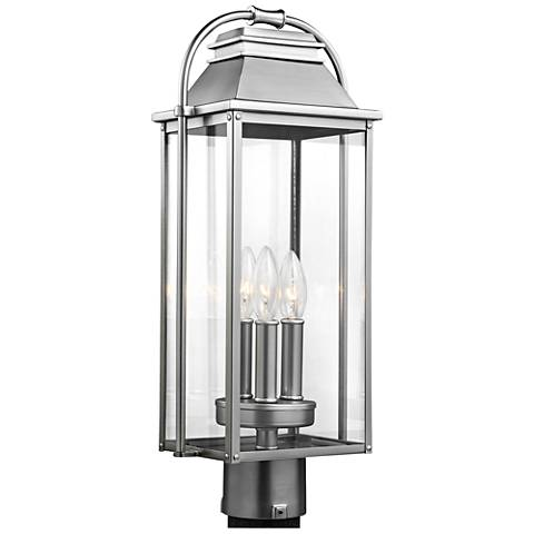 "Wellsworth 20 3/4""H Brushed Steel 3-Light Outdoor Post Light"