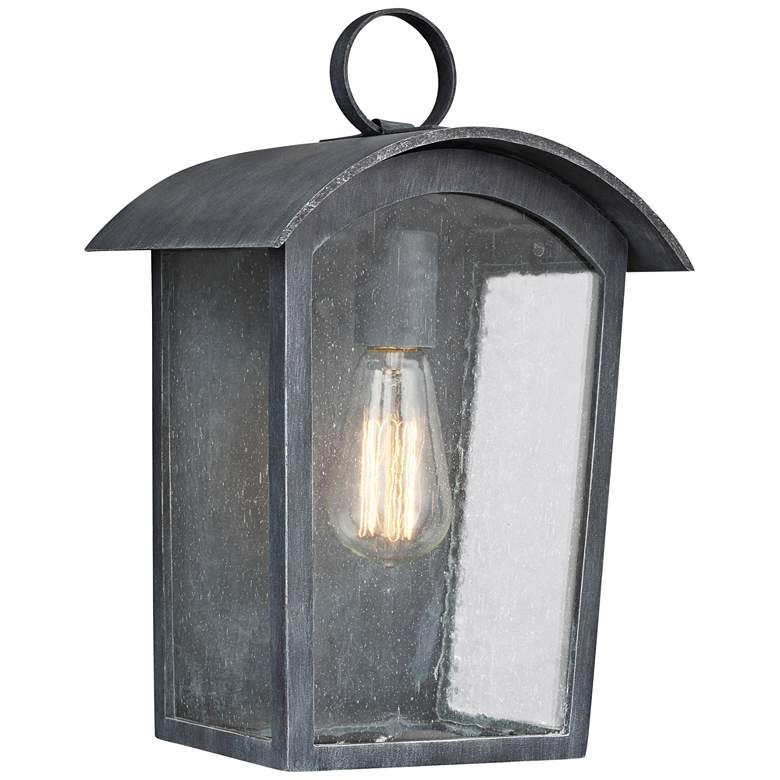 """Feiss Hodges 13 3/4"""" High Ash Black Outdoor"""