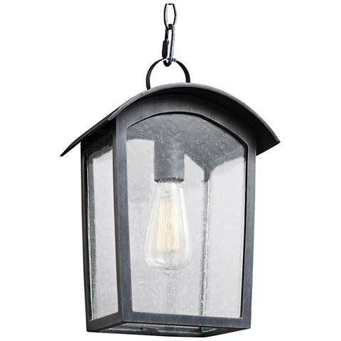 "Feiss Hodges 13 3/4"" High Ash Black Outdoor Hanging Light"