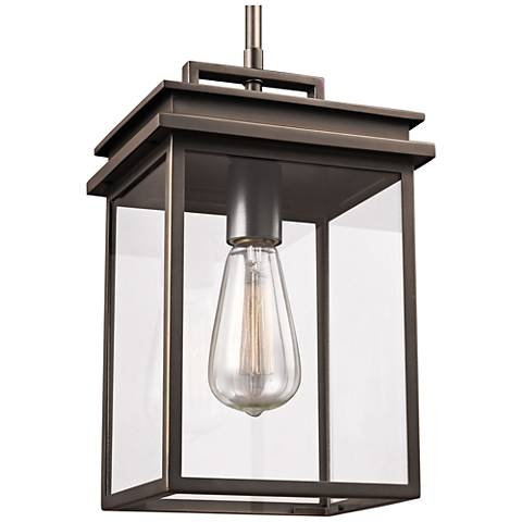 "Feiss Chappman 13"" High Antique Bronze Outdoor Hanging Light"
