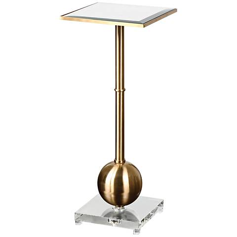 Uttermost Laton Brushed Brass Accent Table with Mirror Top