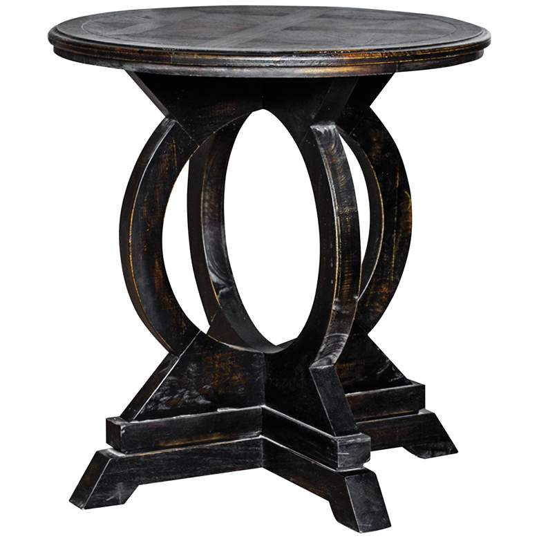 "Maiva  24"" Wide Weathered Black Wood Round Accent Table"