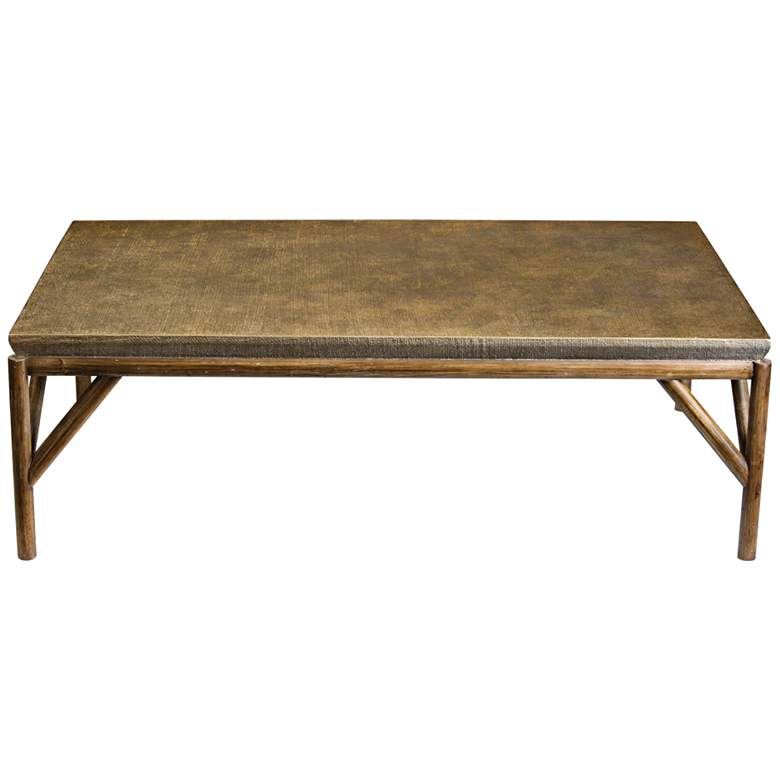 """Kanti 56 3/4"""" Wide Champagne and Weathered Oak Coffee Table"""