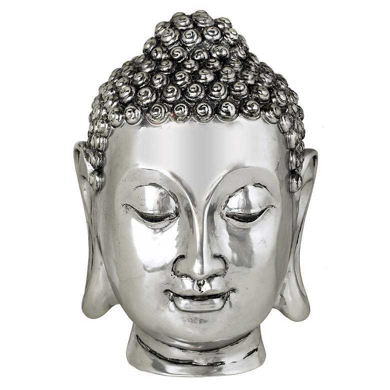 Silver Finish Large Buddha Head Sculpture