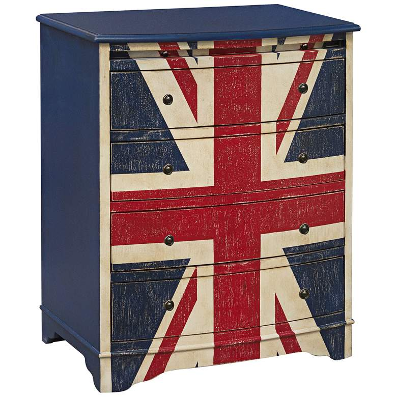 """Union Jack 26"""" Wide 4-Drawer Hand-Painted Accent Chest"""