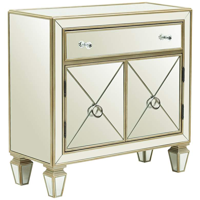 """Glam 32"""" Wide Silver Wood Mirrored 2-Door Chest"""