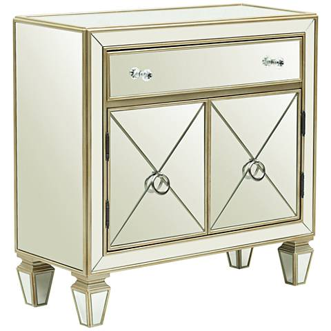 Glam Silver Wood Mirrored and Champagne 2-Door Chest