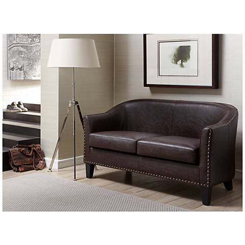 Cooper Rich Chocolate Brown Bonded Leather Settee