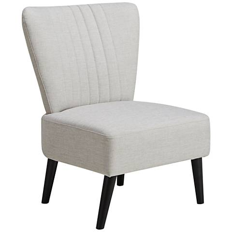 Irvin Light Beige Fabric Channeled Back Accent Chair