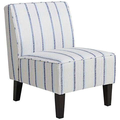 Smith Blue-and-White Striped Fabric Slipper Chair