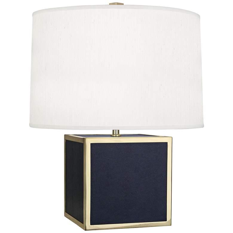 Robert Abbey Anna Navy Cube Faux Snakeskin Accent Lamp