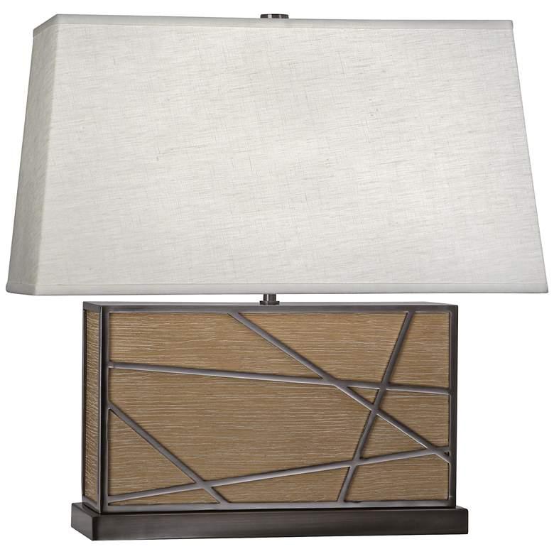 Robert Abbey Michael Berman Bond Wide Oak and Oyster Table Lamp