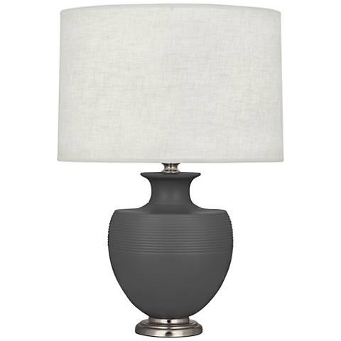 Michael Berman Atlas Nickel and Ash Ceramic Table Lamp