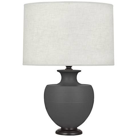 Michael Berman Atlas Bronze and Ash Ceramic Table Lamp