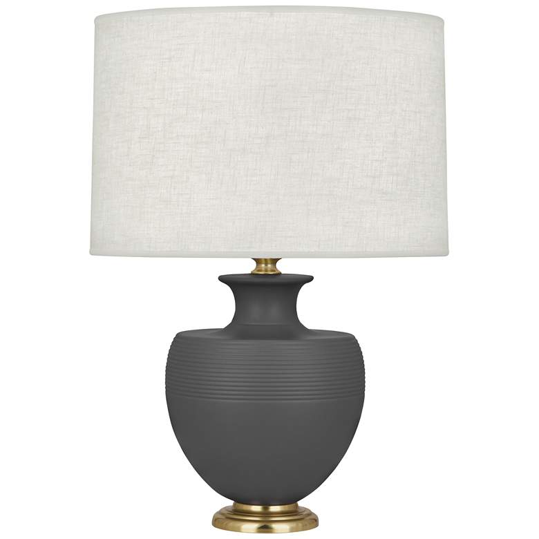 Michael Berman Atlas Brass and Ash Glazed Ceramic Table Lamp