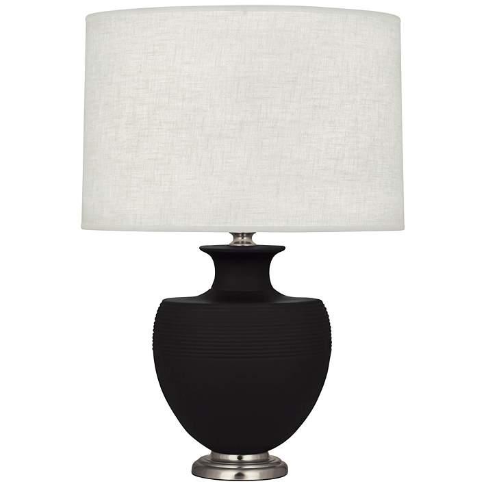 Michael Berman Atlas Nickel and Dark Coal Ceramic Table Lamp