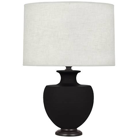 Michael Berman Atlas Bronze and Dark Coal Ceramic Table Lamp