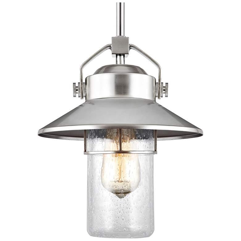 "Feiss Boynton 11"" High Brushed Steel Outdoor Hanging Light"