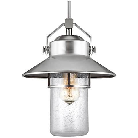 "Feiss Boynton 13"" High Brushed Steel Outdoor Hanging Light"