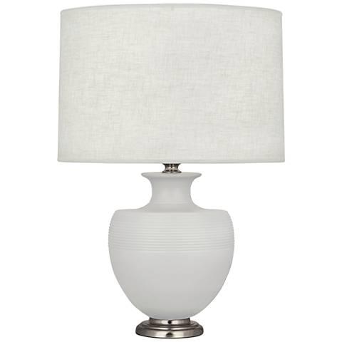 Michael Berman Atlas Matte Dove Gray Ceramic Table Lamp