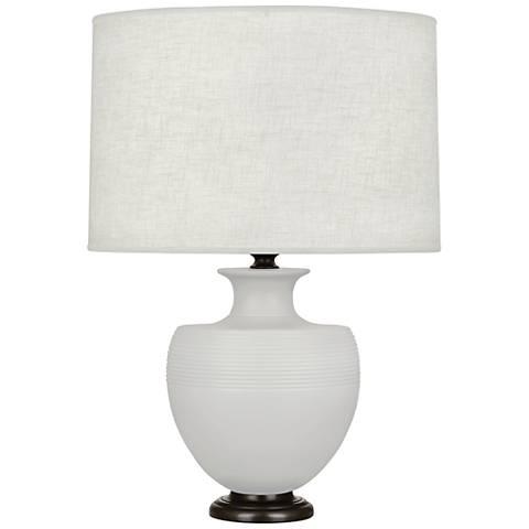 Michael Berman Atlas Bronze and Dove Gray Ceramic Table Lamp