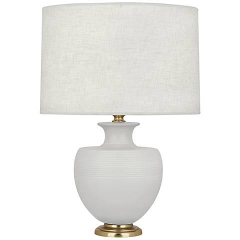Michael Berman Atlas Brass and Dove Gray Ceramic Table Lamp