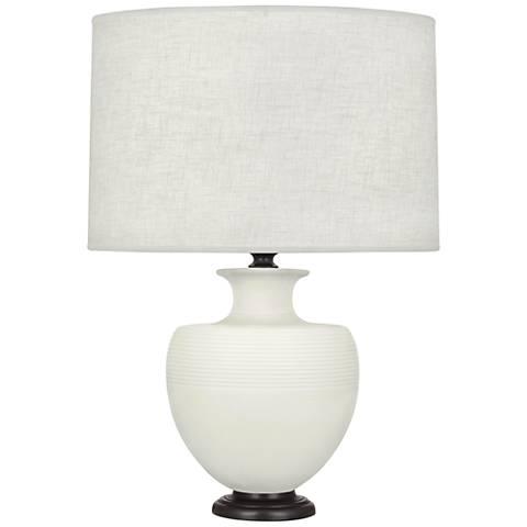 Michael Berman Atlas Bronze and Lily Ceramic Table Lamp