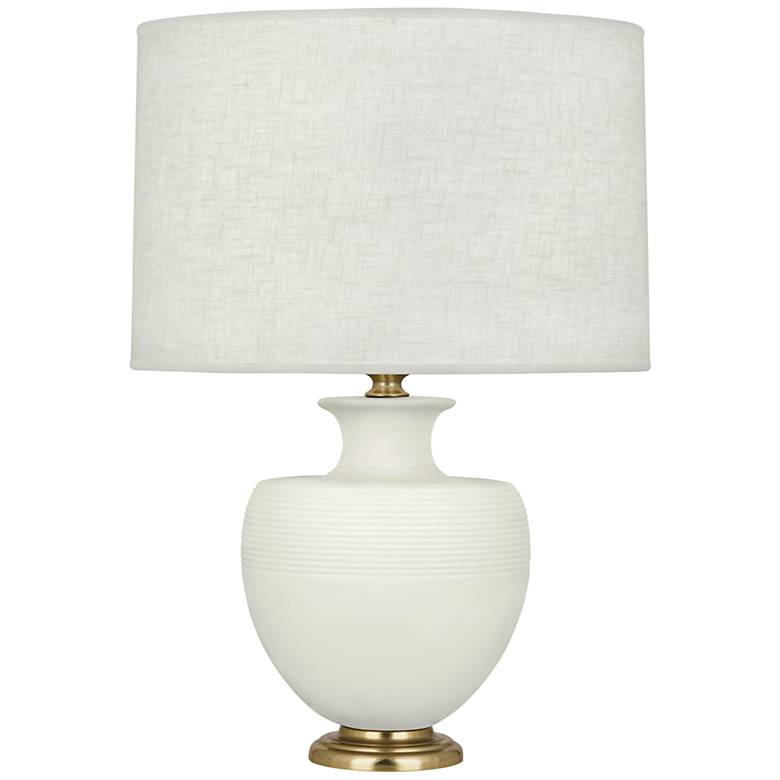 Michael Berman Atlas Brass and Lily Ceramic Table Lamp